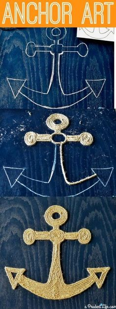 Make you own nautical art out of twine - no tools required tutorial! + DIY Anchor + Beach Cottage