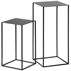 Set of 2 ROMY Lacquered Metal Side Tables (2.870 ARS) ❤ liked on Polyvore featuring home, furniture, tables, accent tables, contemporary end tables, metal furniture, lacquer side table, contemporary table and contemporary accent table