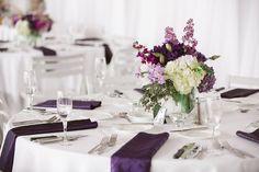 Wedding Reception Decor Centerpieces with Lanterns Purple, Lilac and White Wedding Flowers | Clearwater Beach Wedding Florist Iza