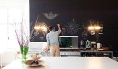 Olaf Hajek has a chalkboard wall! #iwantonetoo