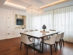Penthouse in Bucharest. Classic Lighting, Bucharest, Lighting Design, Conference Room, Chandelier, Modern, Table, Crystal, Furniture