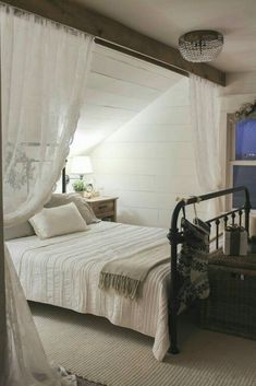 slanted ceiling bedroom