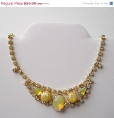 ON SALE Vintage Yellow Opal and  by MawsVintageAdornment on Etsy, $27.00