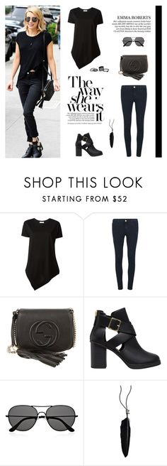 """""""All Black: Emma Roberts"""" by putricp ❤ liked on Polyvore featuring Balenciaga, J Brand, Gucci, Pull&Bear, The Row, Ann Demeulemeester and Free People"""