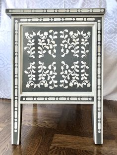 Nightstands with Faux Bone Inlay Stencils | Jewels at Home Refinished Furniture, Furniture Makeover, Campaign Dresser, Mid Century Dresser, Nightstands, Stencils, Jewels, Home, Jewerly