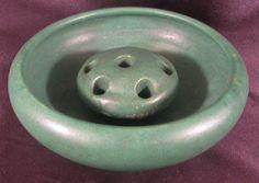 Lovely Antique Zanesville Pottery Arts & Crafts Green Matte Bowl & Flower Frog