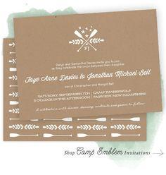 Camp Emblem Wedding Invitations by Kim of Bright Room Studio | Elli.com