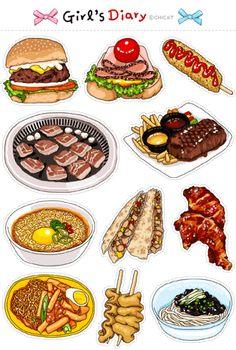 Korean Street Food, Korean Food, Cute Food Art, Love Food, Food Graphic Design, Food Sketch, Food Stickers, Food Painting, Food Drawing