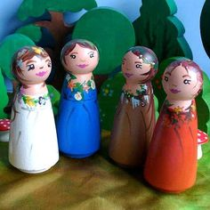 Waldorf Toy - 4 Seasonal Large Mother Earth Wooden Peg Dolls / Wooden Toy