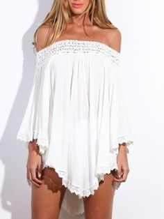 Shop White Off Shoulder Asymmetric Crochet Lace Dress-top from choies.com .Free shipping Worldwide.$21.99