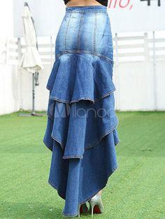 Éblouissante jupe sexy en denim bleu unicolore devant court et derrière long multicouche - Milanoo.com