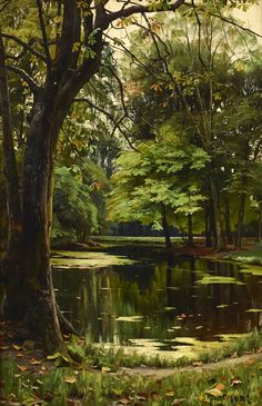Mork Monsted - Autumn day in the forest; Creation Date: Medium: Oil on canvas; Dimensions: 58 X 40 cm.Peder Mork Monsted - Autumn day in the forest; Creation Date: Medium: Oil on canvas; Dimensions: 58 X 40 cm. Landscape Art, Landscape Paintings, Landscape Photography, Nature Photography, Landscape Planner, Photography Tips, Watercolor Landscape, Terre Nature, Forest Painting