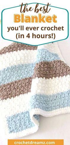 Boy Crochet Patterns, Crochet Baby Blanket Free Pattern, Baby Blanket Size, Bernat Baby Blanket, Baby Boy Blankets, Free Crochet, Cowl Patterns, Crochet Afgans, Toddler Blanket