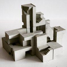 Soma Cube 3 | Variation 1 Architectural sculpture Concrete Architecture, Modern Architecture, Architecture Portfolio, Module Design, Concept Models Architecture, Architectural Sculpture, Concrete Art, Concrete Design, Clay Houses