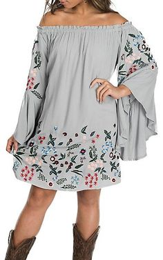 Umgee Women's Cool Grey Off the Shoulder w/ Floral Embroidery Dress | Cavender's