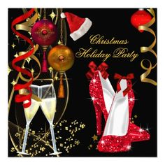 Corporate Holiday Christmas Party Champagne Personalized Invitations by Zizzago.com