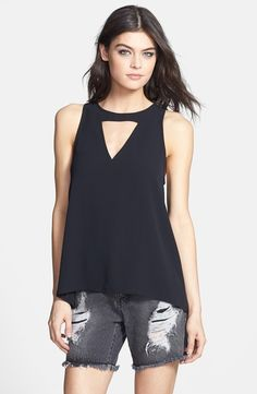 Cheap Leith Front Cutout Woven Tank Reviews by amwish