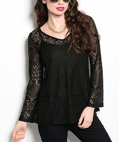 Look what I found on #zulily! Black Sheer Lace V-Neck Top #zulilyfinds