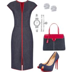 Denim & Red by taniaisabel-1 on Polyvore featuring polyvore, fashion, style, Christian Louboutin, Myriam Schaefer, Anne Klein, Effy Jewelry and clothing