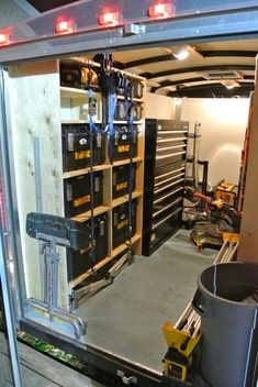 Job Site Trailers, Show Off Your Set Ups! – Page 69 – Tools & Equipment - Work-toptrendpin. Trailer Shelving, Van Shelving, Trailer Storage, Shop Shelving, Truck Storage, Shelving Ideas, Shelves, Work Trailer, Trailer Plans