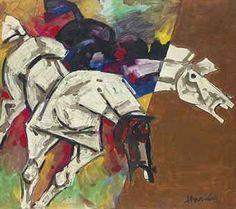 Untitled (Horses) by M.F.HUSAIN