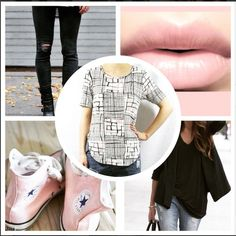 You can never have enough T-shirts in your wardrobe and our Champagne Pink Grid Tee (£12) is no exception! We're styling ours with black ripped skinny jeans, boyfriend fit blazer and cute pink converse!