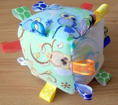 Boys Owl Baby Toy - Ribbon Crinkle Plush Baby Block - Owl Baby Toy. $15,00, via Etsy.