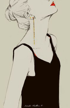 I love the tiny detail of the earrings, they appear so elegant. ~Fashion illustration