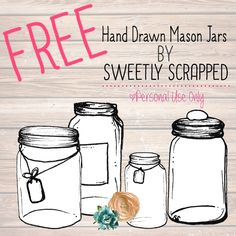 Free Hand drawn mason jar clip art by Sweetly Scrapped