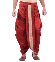 Red Silk Blend Embroidered Dhoti
