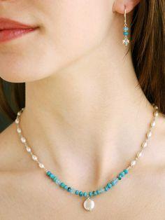 """New Handmade Fashion by Harmony Scott Jewelry Design Scott Jewelry Design – Turquoise & Pearl """"Protection"""" Jewelry Wire Jewelry, Bridal Jewelry, Gemstone Jewelry, Jewelry Necklaces, Jewellery, Diamond Jewelry, Silver Jewelry, Bracelets, Circle Necklace"""