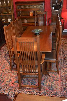 Arts and Crafts Mission Oak Dining Table & 8 Mission Oak High Curved Back Chairs