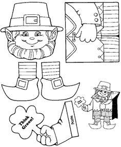 Leprechaun bag puppet!  Free printable available at Just 4 Teachers blog.