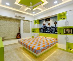 Kids room interior bedroom by kumar interior thane is part of Bedroom wall paint - Here you will find photos of interior design ideas Get inspired! House Ceiling Design, Ceiling Design Living Room, Bedroom False Ceiling Design, Bedroom Ceiling, Bedroom Wall, Bedroom Cupboard Designs, Wardrobe Design Bedroom, Room Design Bedroom, Bedroom Ideas