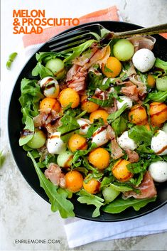 This melon with prosciutto salad says two words in every bite: Italy and summer. It can be served as an antipasto or main course at lunch time. Click for the step-by-step recipe #byenrilemoine #enrilemoine #melonandprosciuttosalad #melonandprosciuttosaladrecipe #melonandprosciuttoplatter #melonandprociuttoantipasto #ItalianCuisine #SummerRecipe
