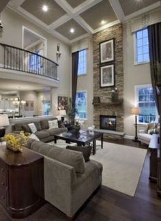 Model Homes family rooms Toll Brothers' Ardsley Chase Grand Opens Spectacular… Style At Home, Design Salon, Model Homes, Home Living Room, Living Area, Stone Wall Living Room, Classy Living Room, Home Fashion, Great Rooms