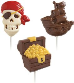 Fun shapes and greater detail make Wilton Candy Molds the worlds favorite way to create candy. These pirate lollipop molds are sure to be a hit at your next themed party or Halloween get-together. Mak