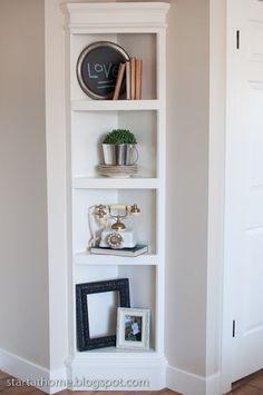 built in corner shelving unit..upstairs bathroom?