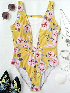 Up to 80% OFF + Free shipping on orders over $30. One Piece Plunging High Cut Floral Swimwear. Swimwear 2017:Zaful,Bikinis,Micro bikini,High waisted bikini,Halter bikini,Crochet bikini,One-pieces,Tankini set,Cover ups,to find different swimwear(bathing suit,swimsuits) ideas @zaful Extra 10% OFF Code:ZF2017