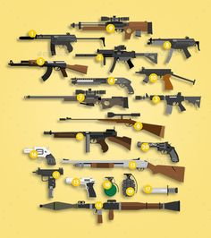 About the asset: The Modern Weapons Pack includes high-quality 2D flat weapons sprites for your game or any other graphic element.