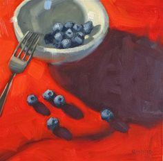 """Daily Paintworks - """"Red, white and blueberries"""" - Original Fine Art for Sale - © Claudia Hammer"""