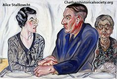 """From the Alice Stallknecht mural """"The Circle Supper"""". Oil painting of Laurie Tuttle, J. Lewis Tuttle, and Grace Dolloff. Lewis Tuttle was deaf from birth and is shown lipreading from his wife. Mural Painting, Historical Society, Local Artists, Murals, Birth, Alice, Museum, Oil, Pictures"""