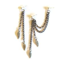 Leaf Charms Double Chain Cartilage Earrings by RazzleDazzleMe, $11.00
