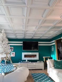 Love coffer ceilings Consider coffer ceiling tile ceiling ceilings coffer c Cei. Love coffer ceilings Consider coffer ceiling tile ceiling ceilings coffer c Cei… Drop Ceiling Basement, Drop Ceiling Tiles, Accent Ceiling, Ceiling Grid, Dropped Ceiling, White Ceiling, Basement Flooring, Basement Remodeling, Basement Walls