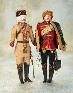 Two German Bisque Dollhouse Soldiers in Original Costumes