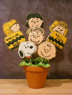 """You're a Good Man Charlie Brown! - Cookie bouquet made for my sons friend for opening night of """"You're a Good Man, Charlie Brown.""""  NFSC with Royal Icing. Includes Charlie Brown, Snoopy, Sally, Lucy, Linus, and Shroeder characters."""
