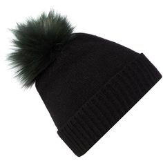 Helen Moore Cashmere hat with faux fur pom pom beanie ($105) ❤ liked on Polyvore featuring accessories, hats, black, cashmere beanie, pom pom hat, black beanie, beanie cap and black cashmere hat