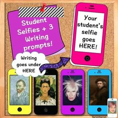 """From TeachersPayTeachers. Student """"Selfies"""" with Writing Prompts. This was designed for a back to school night project but would be incredible to use with adolescents or young adults to examine the 'self'. Love this idea! Vocabulary Activities, Writing Activities, Teacher List, Teacher Stuff, Teaching Displays, Learning Spanish, Spanish Lessons, Art Lessons, Back To School Activities"""