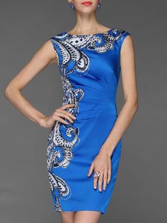 Printed Sheath Sleeveless Mini Dress