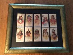 Framed Indian Chief Cigarette Cards Setof 10 by Allen & Ginter. Set of ten in a wood gilt frame. City Flags, White Egret, Native American Indians, Home Decor Styles, Frame, Cards, Ebay, Picture Frame, Frames